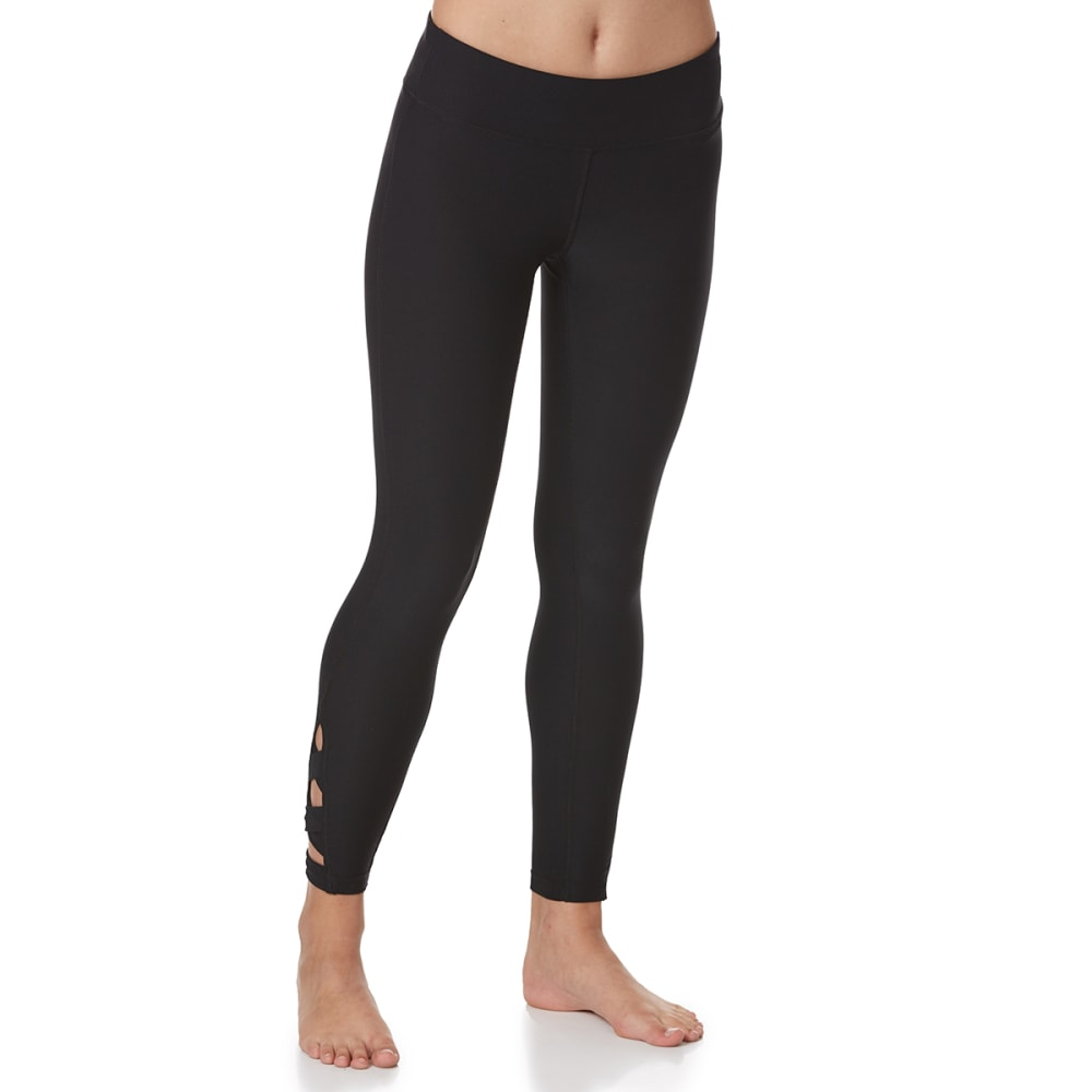 APANA Women's Striated Crisscross Detail Leggings - RICH BLACK