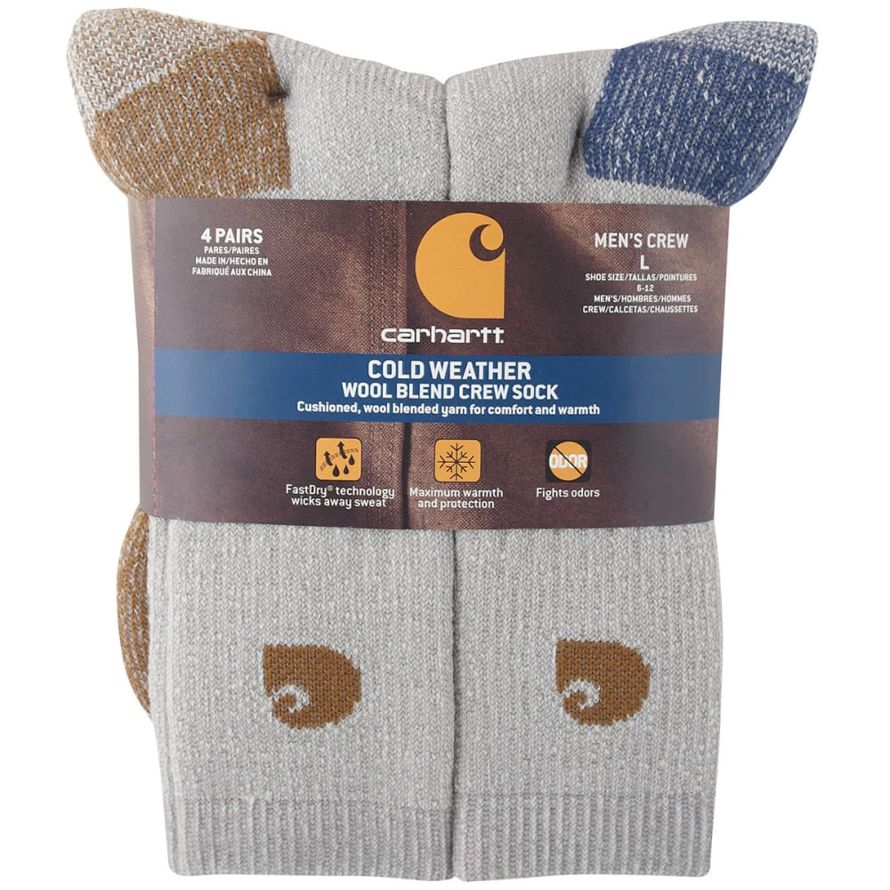 Carhartt Men's Thermal Crew Socks, 4-Pack - Brown, L