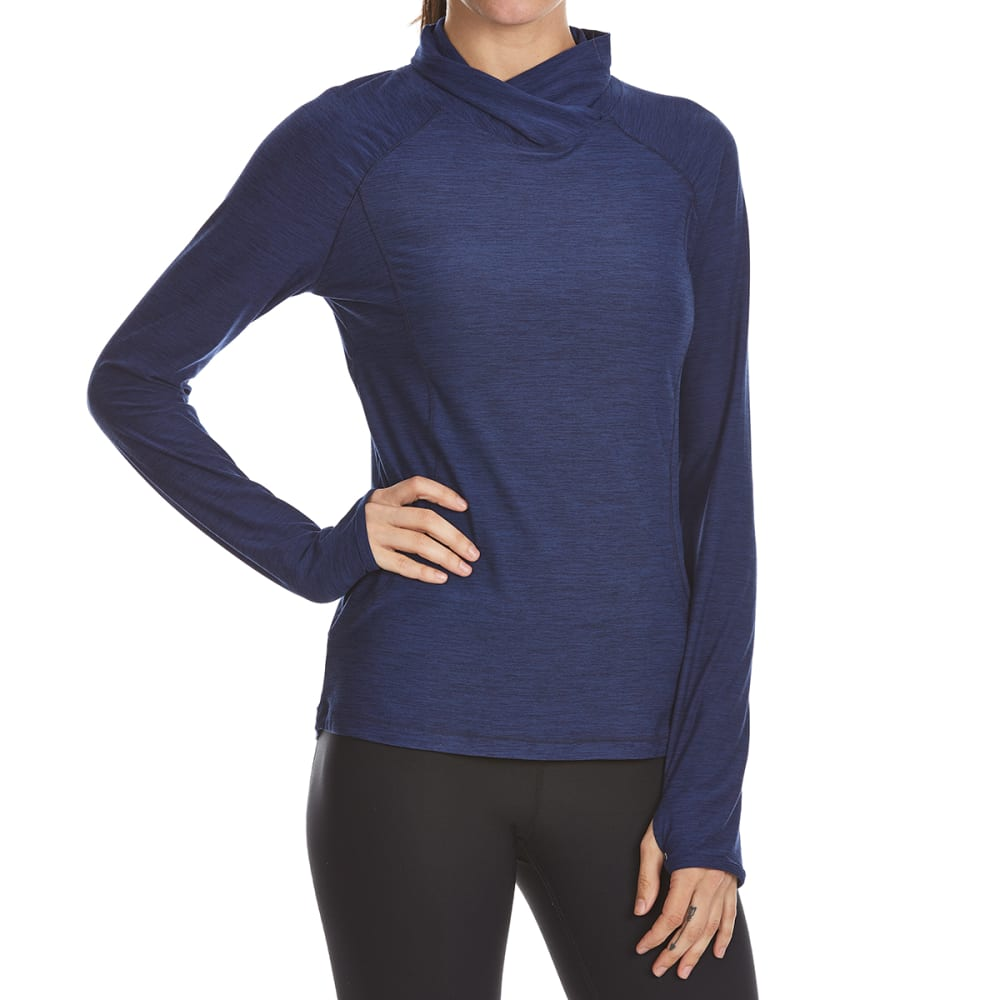 LAYER 8 Women's Midweight Jersey Stretch Long-Sleeve Top - DEEP INDIGIO