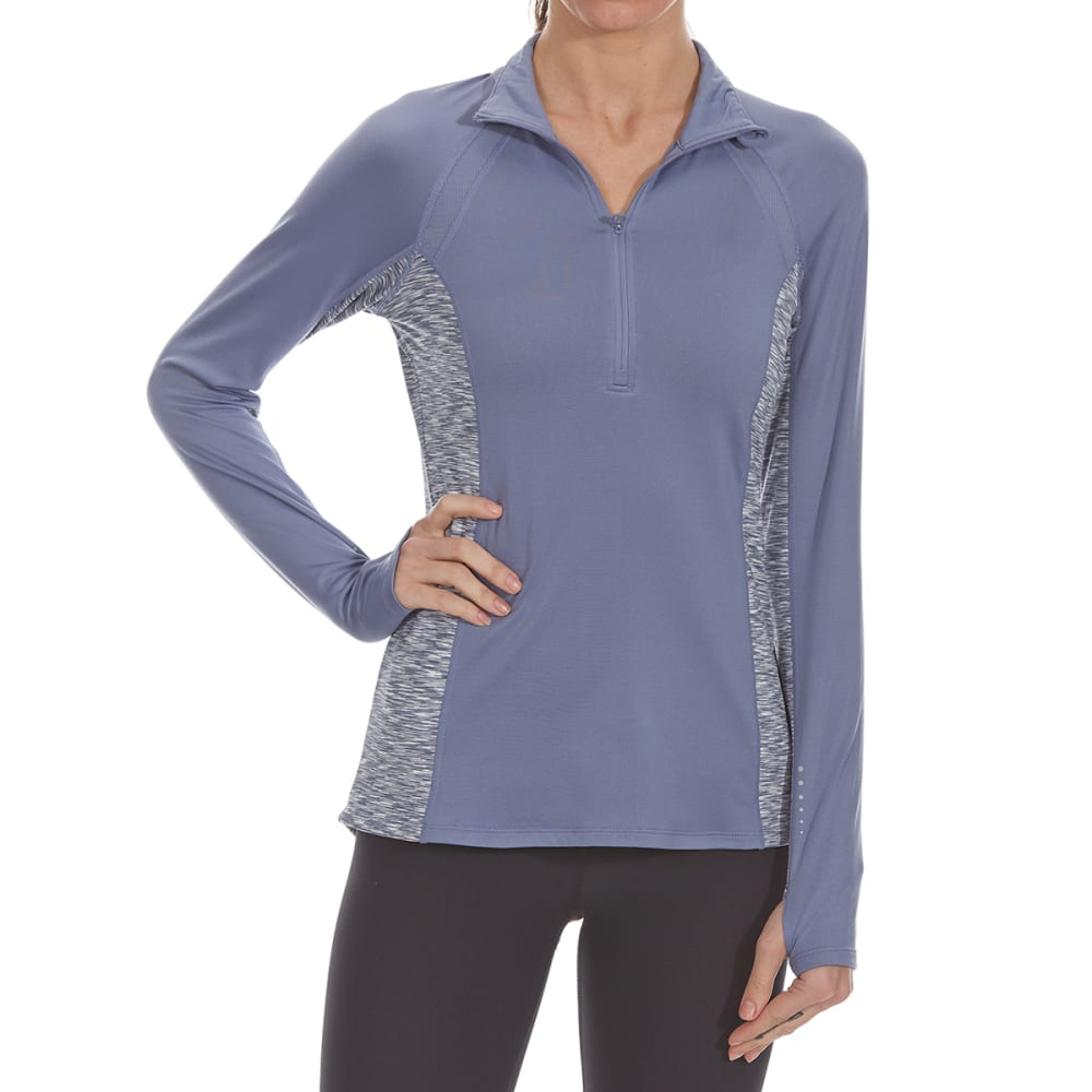 LAYER 8 Women's ¼-Zip Long-Sleeve Top with Heathered Side Panels - STEEL BLUE