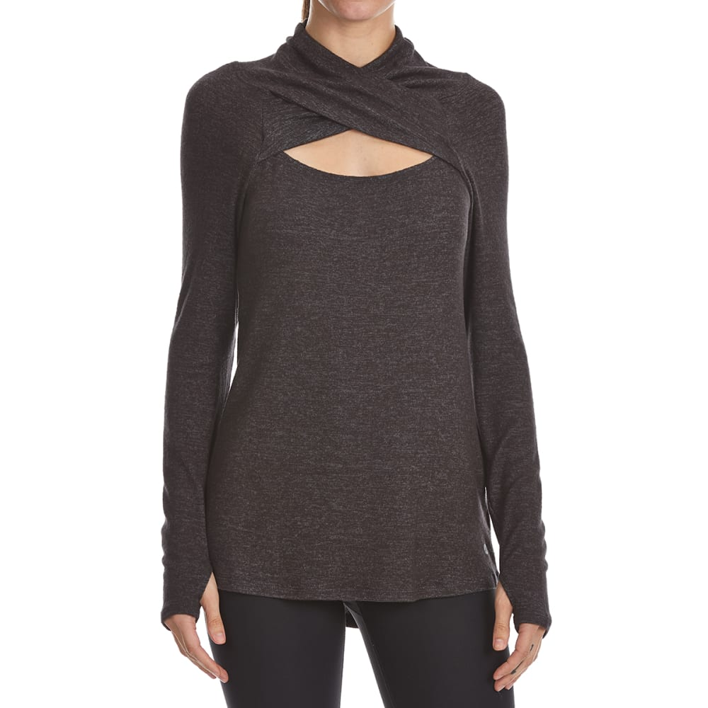 APANA Women's Jersey Crossover Neck Top - RICH BLCK HTR