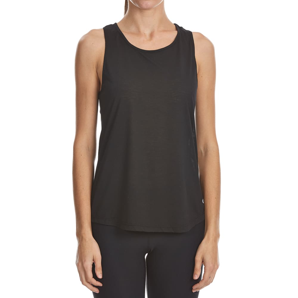 APANA Women's Draped Keyhole Tank Top - RICH BLACK