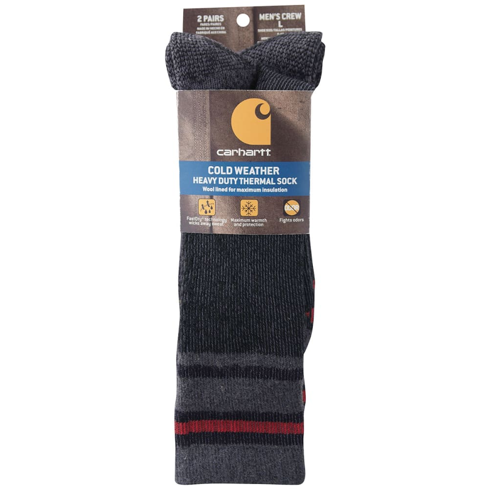CARHARTT Men's Heavy Duty Thermal Crew Socks, 2-Pack - BLACK