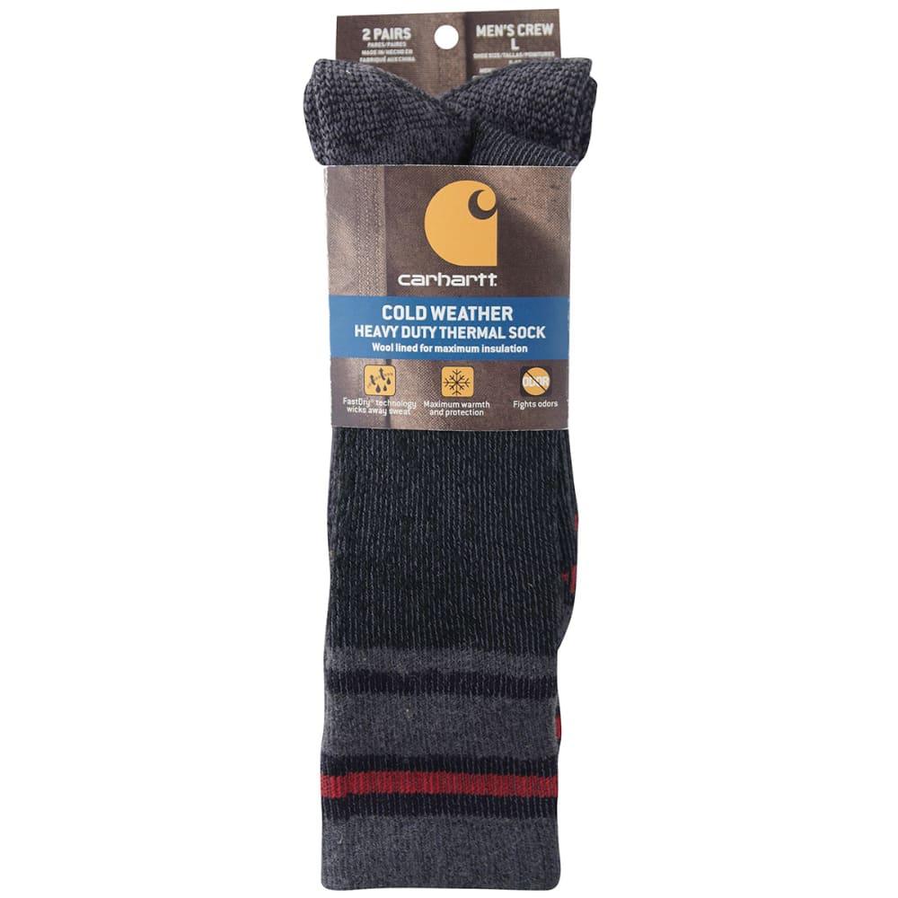 CARHARTT Men's Heavy Duty Thermal Crew Socks, 2-Pack - BLACK
