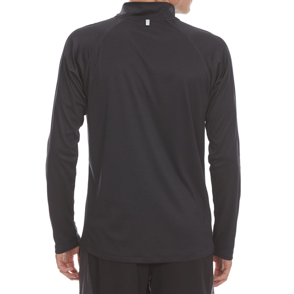 HIND Men's Texture Wicking Quarter-Zip Pullover - BLACK