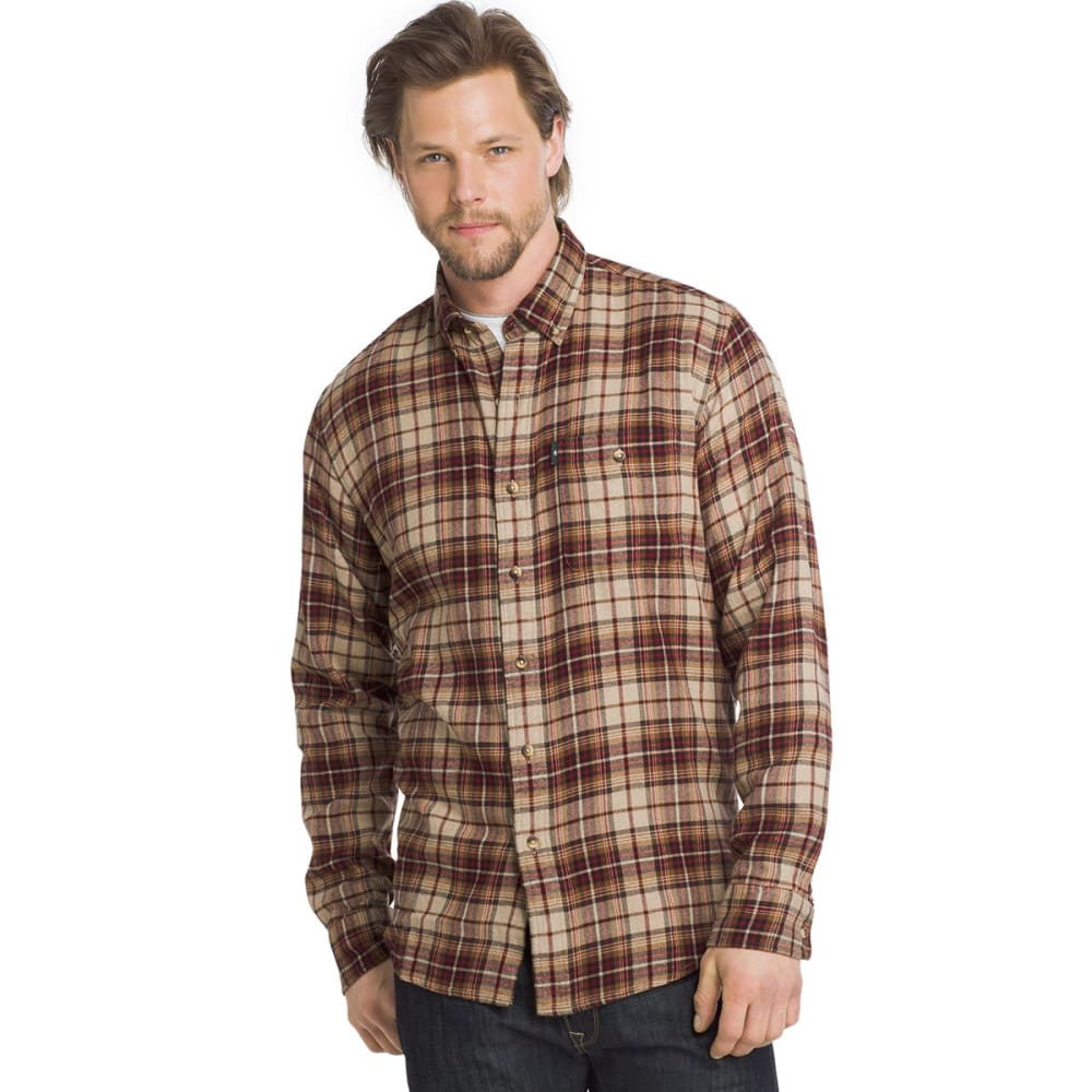 G.h. Bass & Co. Men's Fireside Flannel Long-Sleeve Shirt - White, M