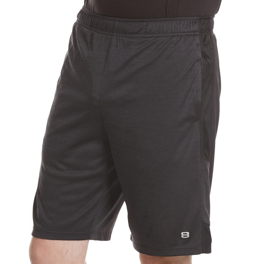 LAYER 8 Men's Fleck Heather Training Shorts - OBSIDIAN/BLACK