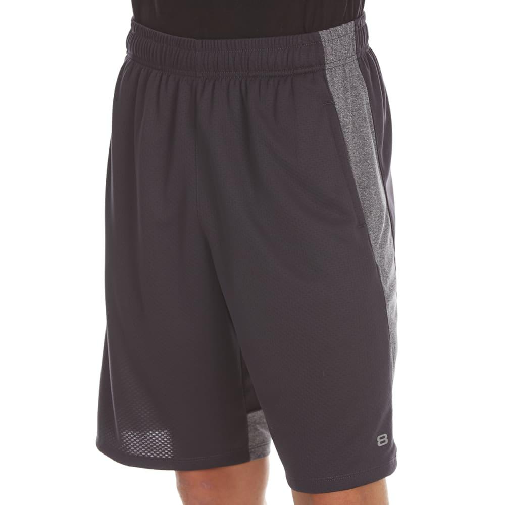LAYER 8 Men's Bubble Mesh Training Shorts - OBSIDIAN/GREY HTR