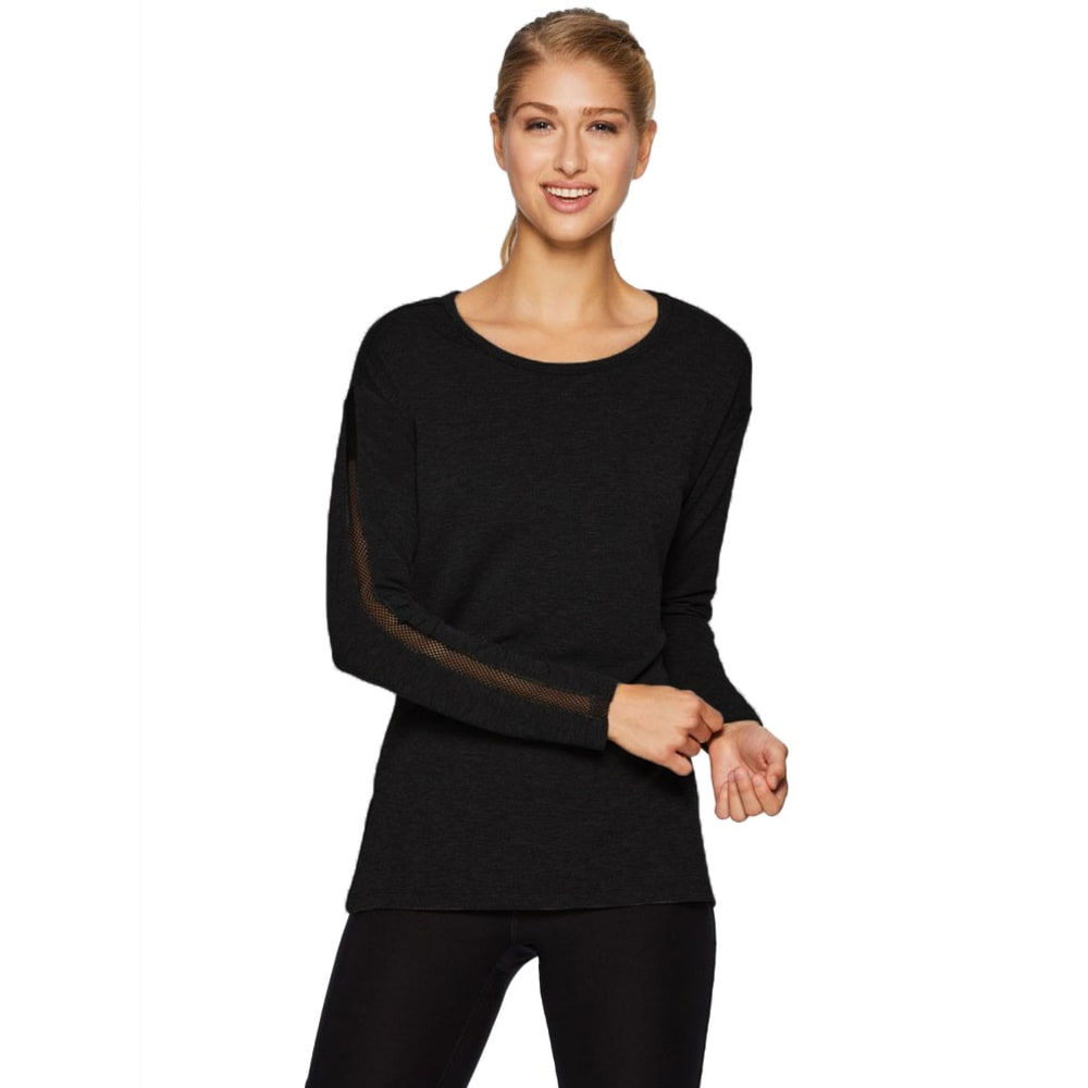 RBX Women's Studio French Terry Mesh Detail Tunic - BLACK-A