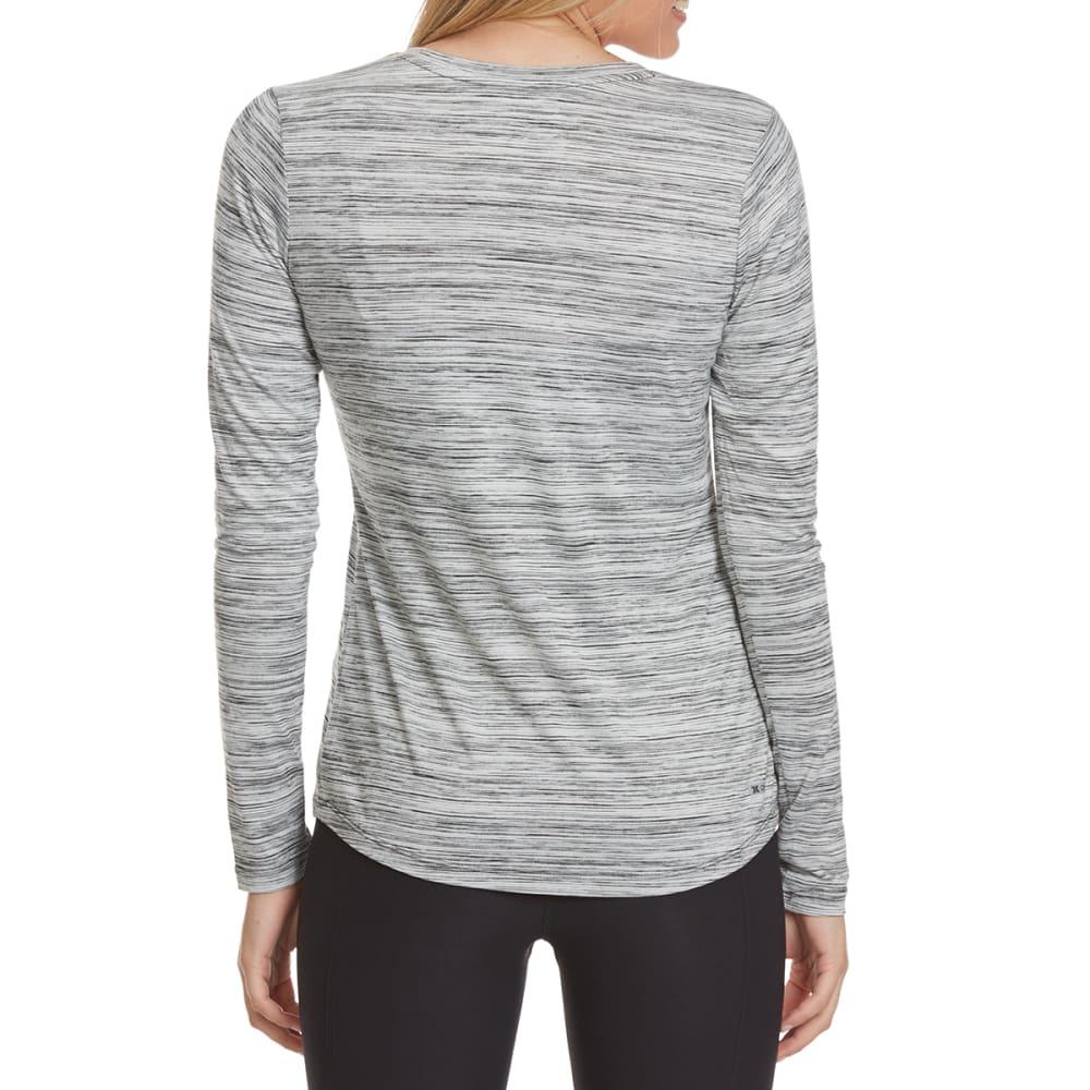 RBX Women's Poly Space-Dye Stripe V-Neck Long-Sleeve Tee - BLACK-A