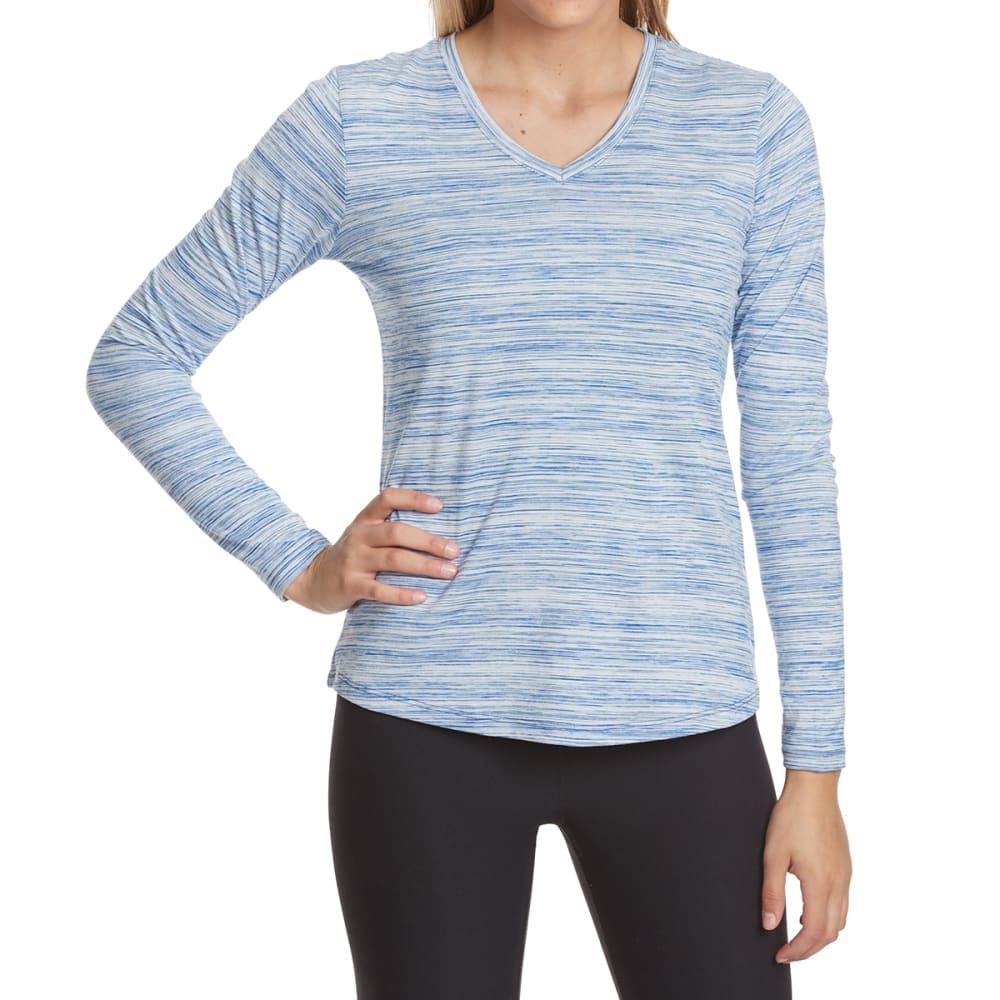 RBX Women's Poly Space-Dye Stripe V-Neck Long-Sleeve Tee - STEEL BLUE-D
