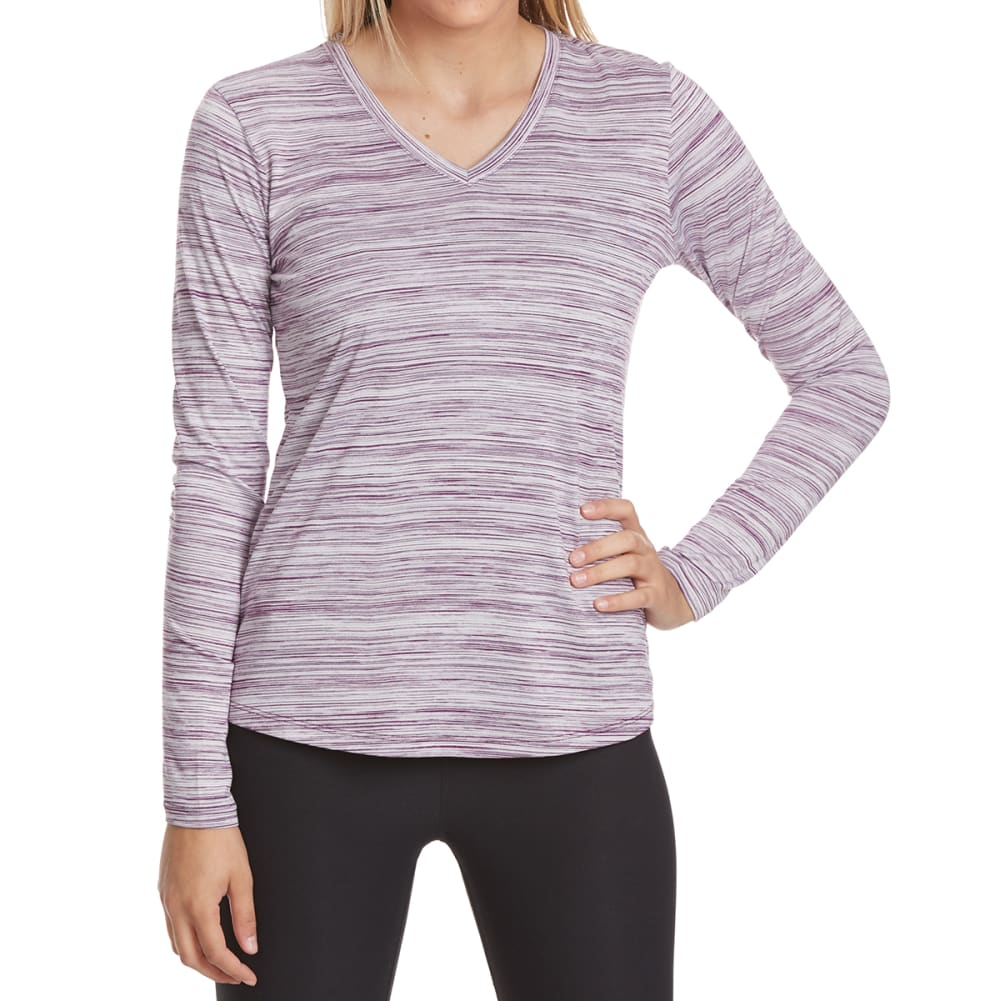 RBX Women's Poly Space-Dye Stripe V-Neck Long-Sleeve Tee - BERRY CRUSH-C