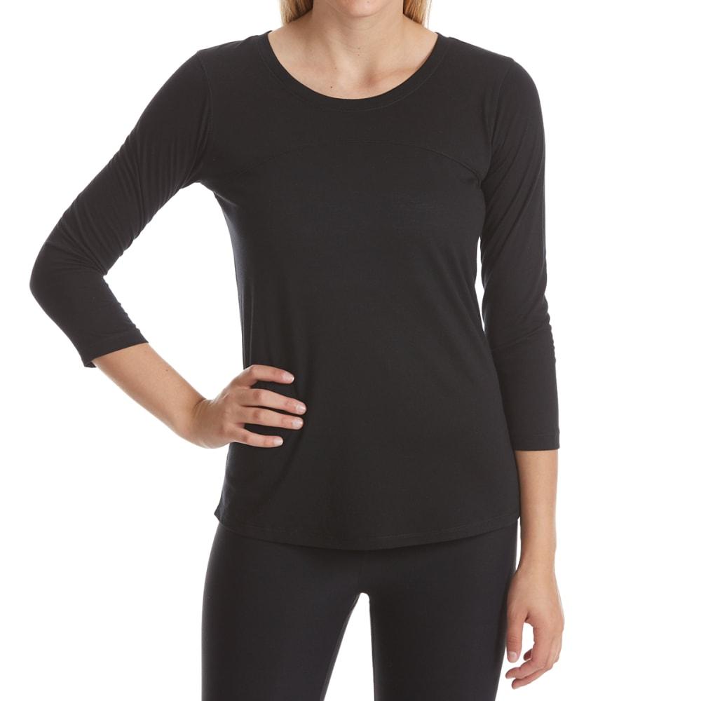 RBX Women's Back Cutout ¾-Sleeve Top - BLACK-B