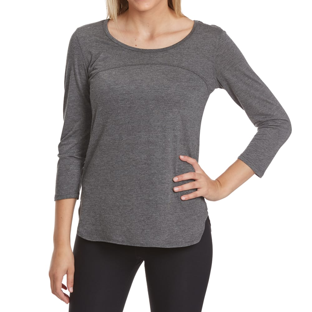 RBX Women's Front Seam ¾ Sleeve Shirt - CHARCOAL HTR-A