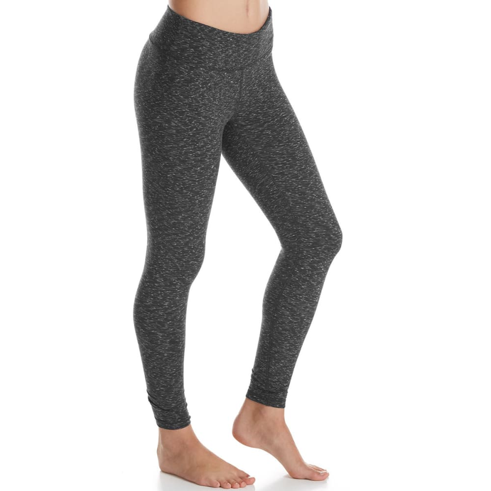 RBX Women's Double Peached Double Speckled Leggings - BLACK/GREY-A