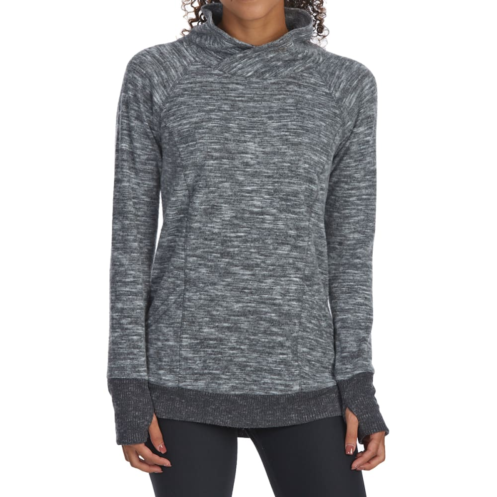 RBX Women's Brushed Hacci Slub Crossover Cowl Neck Pullover - COOL GREY-A
