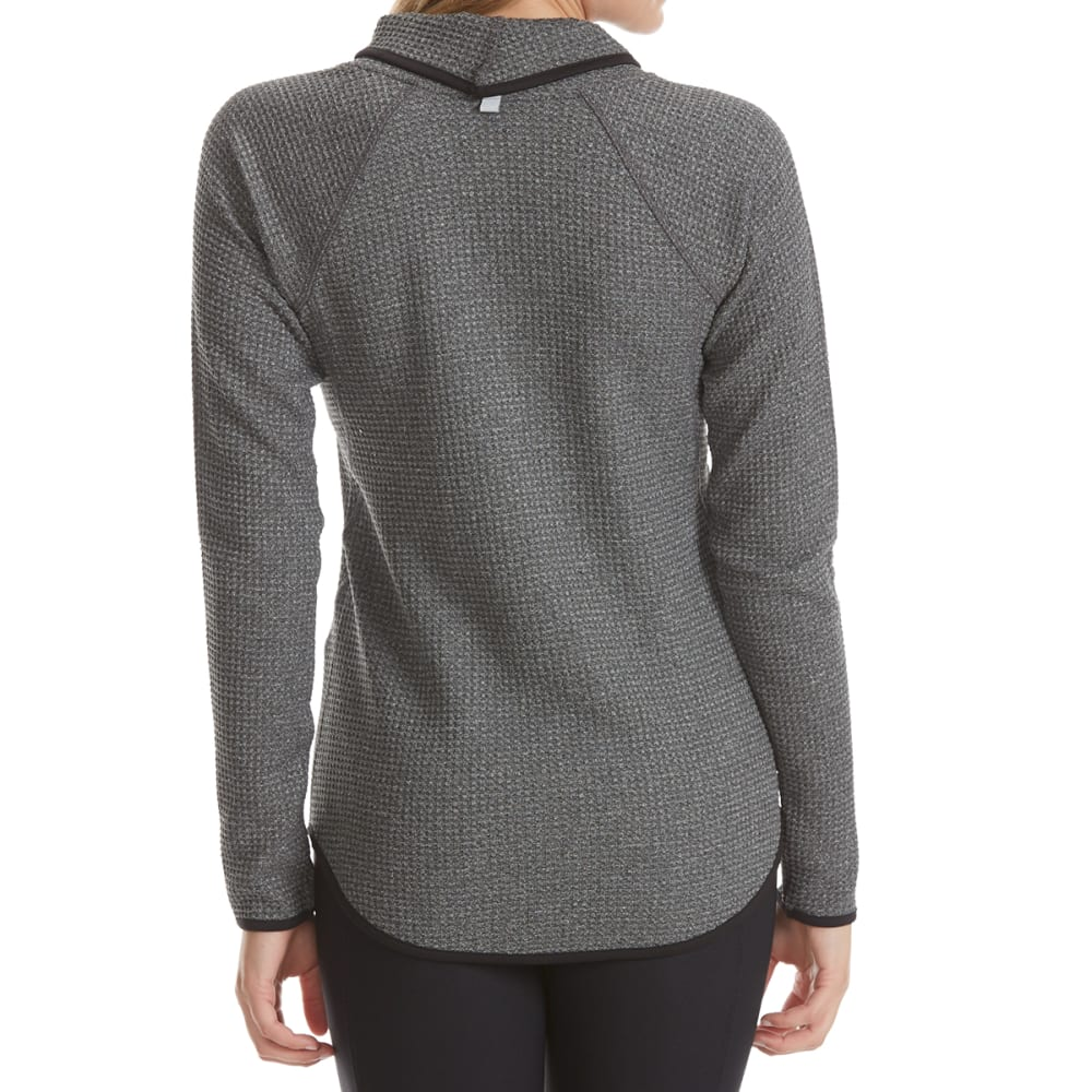 RBX Women's Peached Waffle Cowl Neck Long-Sleeve Top - CHARCOAL HTR-A