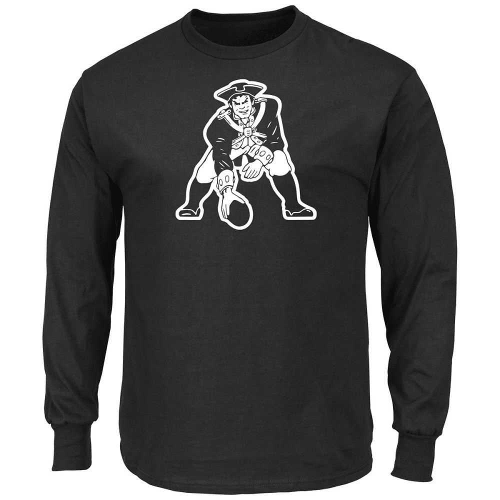 NEW ENGLAND PATRIOTS Men's Black and White Pat The Patriot Long-Sleeve Tee - BLACK/WHITE