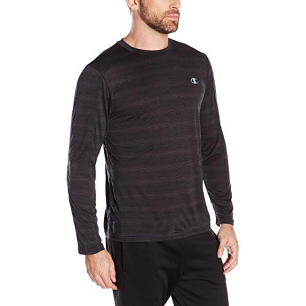 CHAMPION Men's Vapor Heather Stripe Long Sleeve T-Shirt - BLACK-MA0