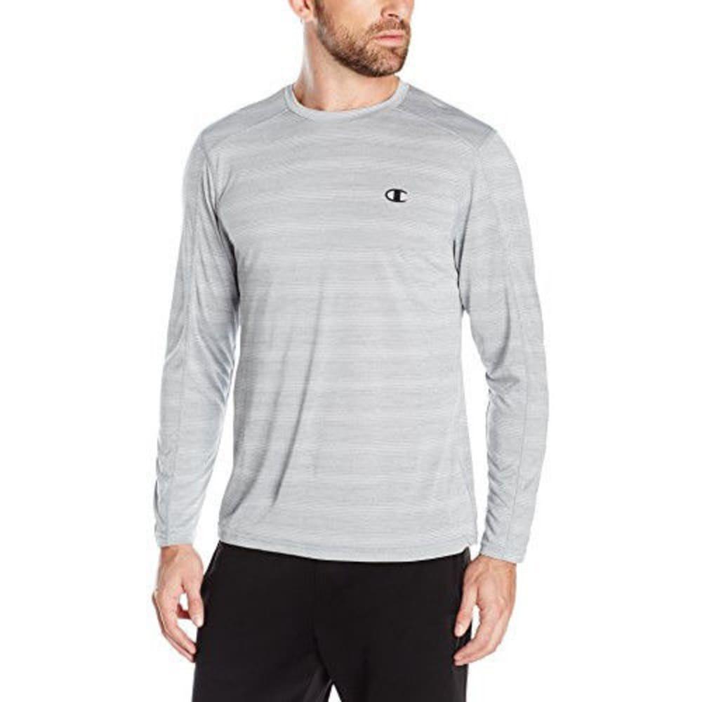 CHAMPION Men's Vapor Heather Stripe Long Sleeve T-Shirt - CONCRETE-MB0