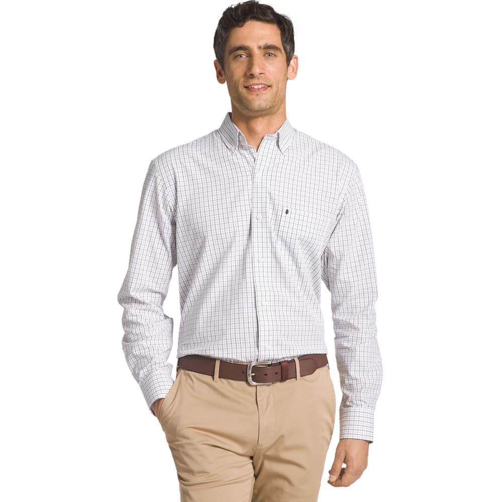 IZOD Men's Essential Tattersall Woven Long-Sleeve Shirt - BLACK-001