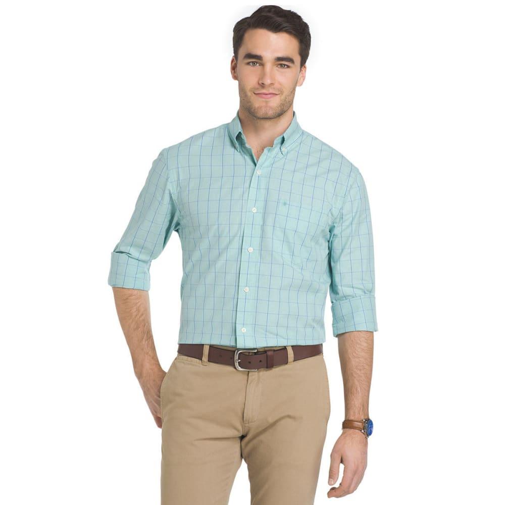 Izod Men's Essential Grid Woven Long-Sleeve Shirt - Green, L