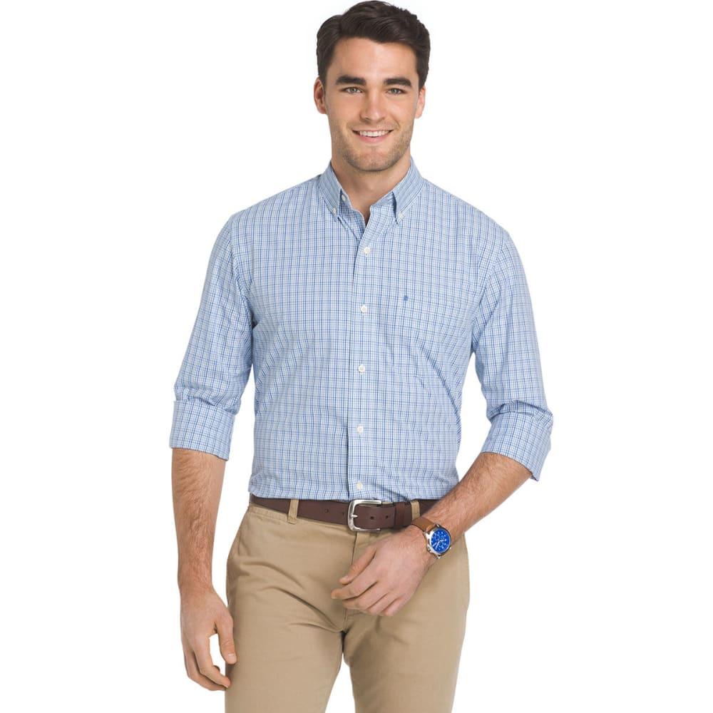 Izod Men's Essential Mini Plaid Long-Sleeve Shirt - Blue, M