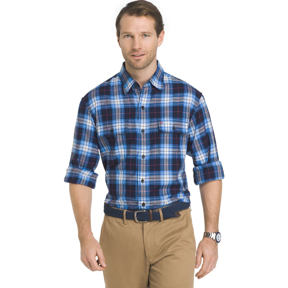 Izod Men's Saltwater Harbor Twill Easy Care Plaid Shirt - Blue, M
