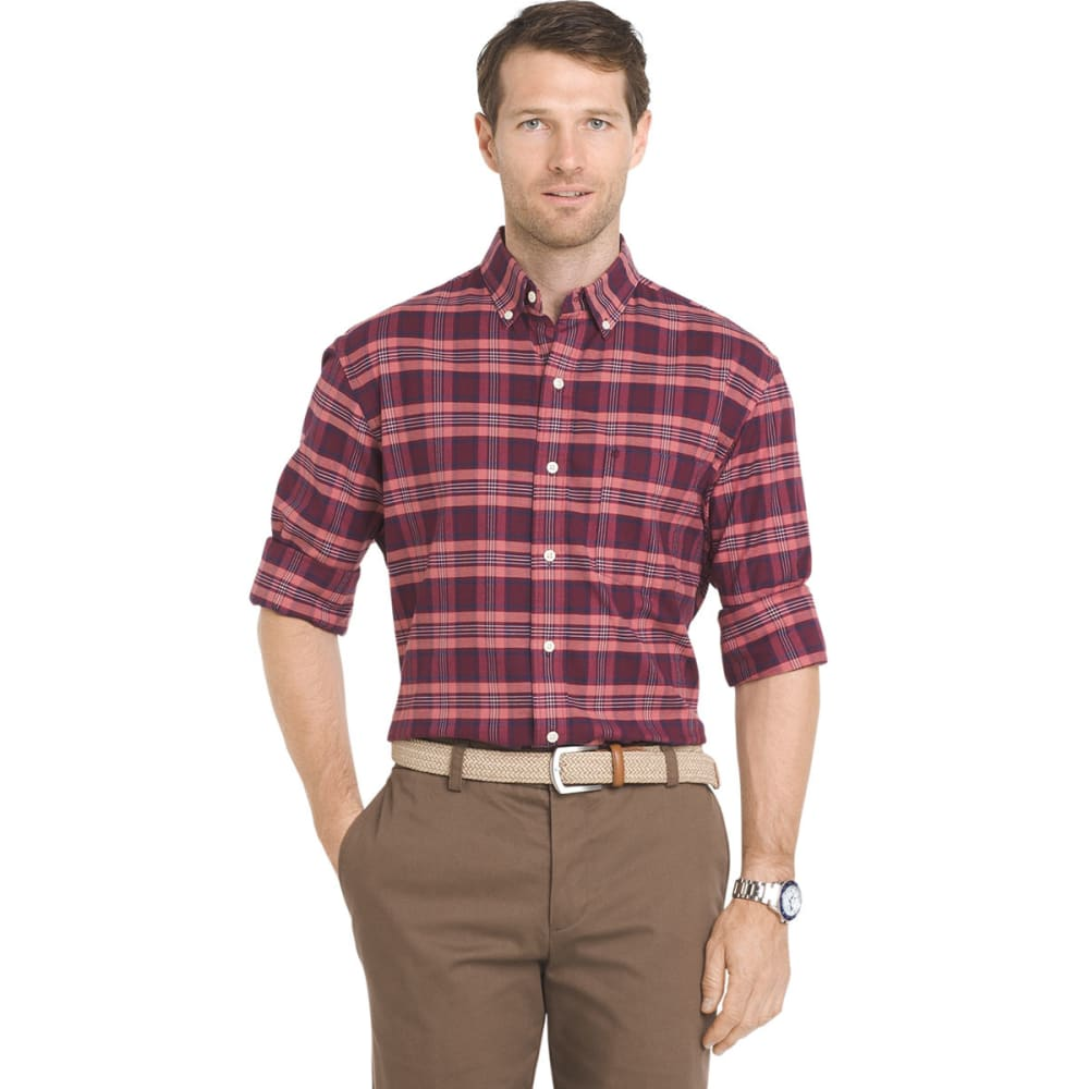 Izod Men's Saltwater Oxford Stretch Medium Plaid Long-Sleeve Shirt - Purple, M