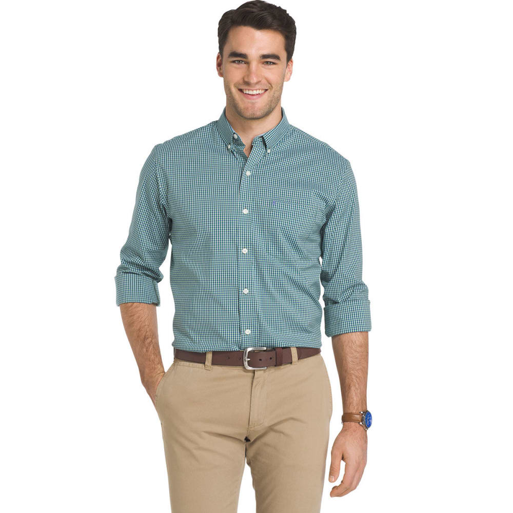IZOD Men's Advantage Grid Poplin Long-Sleeve Shirt - CAMEO GRN-359
