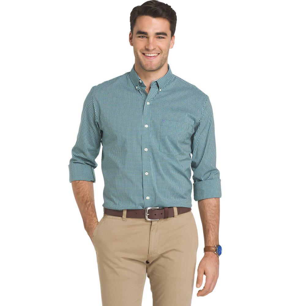 IZOD Men's Advantage Grid Poplin Long-Sleeve Shirt - CAMEO GRN-359