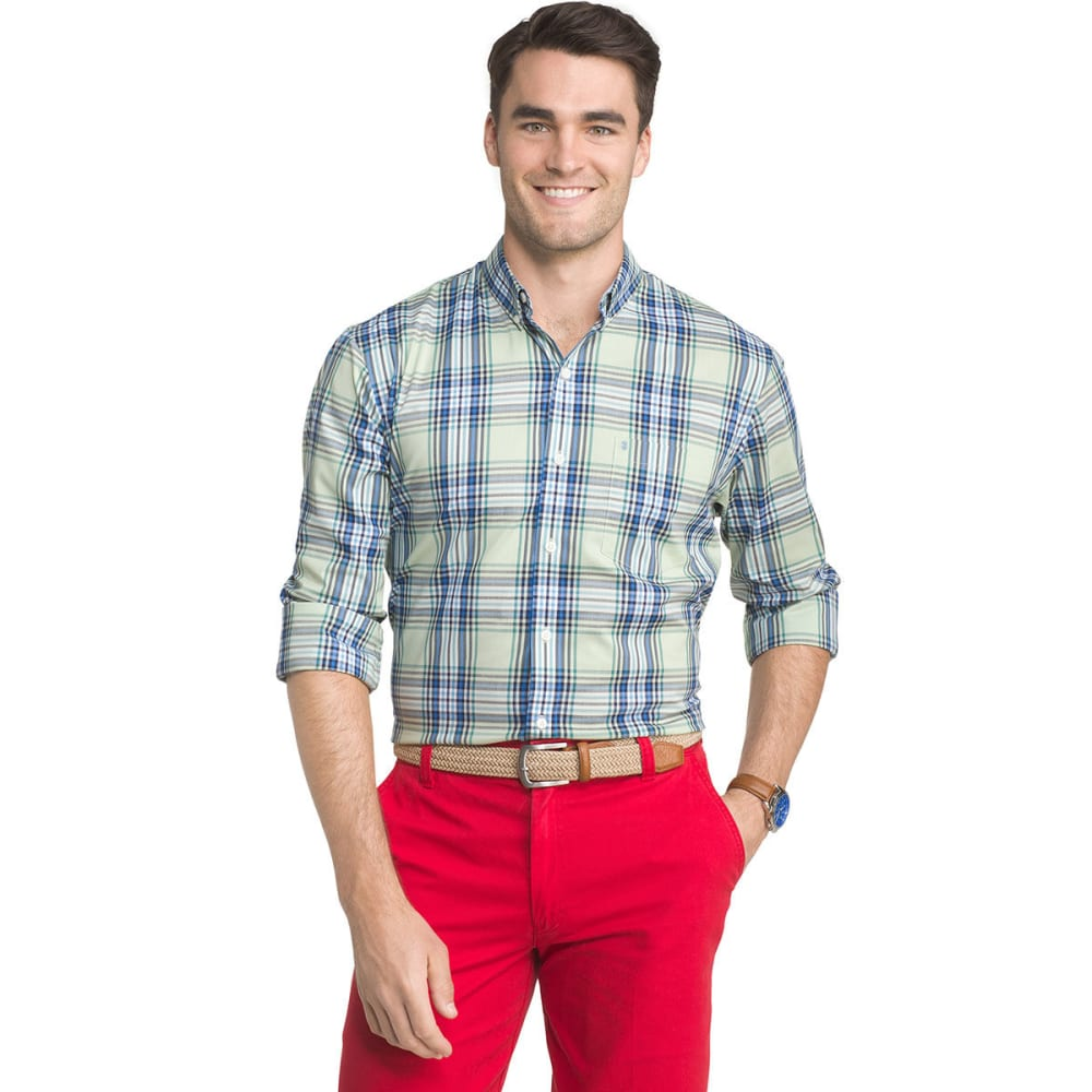 IZOD Men's Advantage Medium Plaid Poplin Long-Sleeve Shirt - CAMEO GRN-359