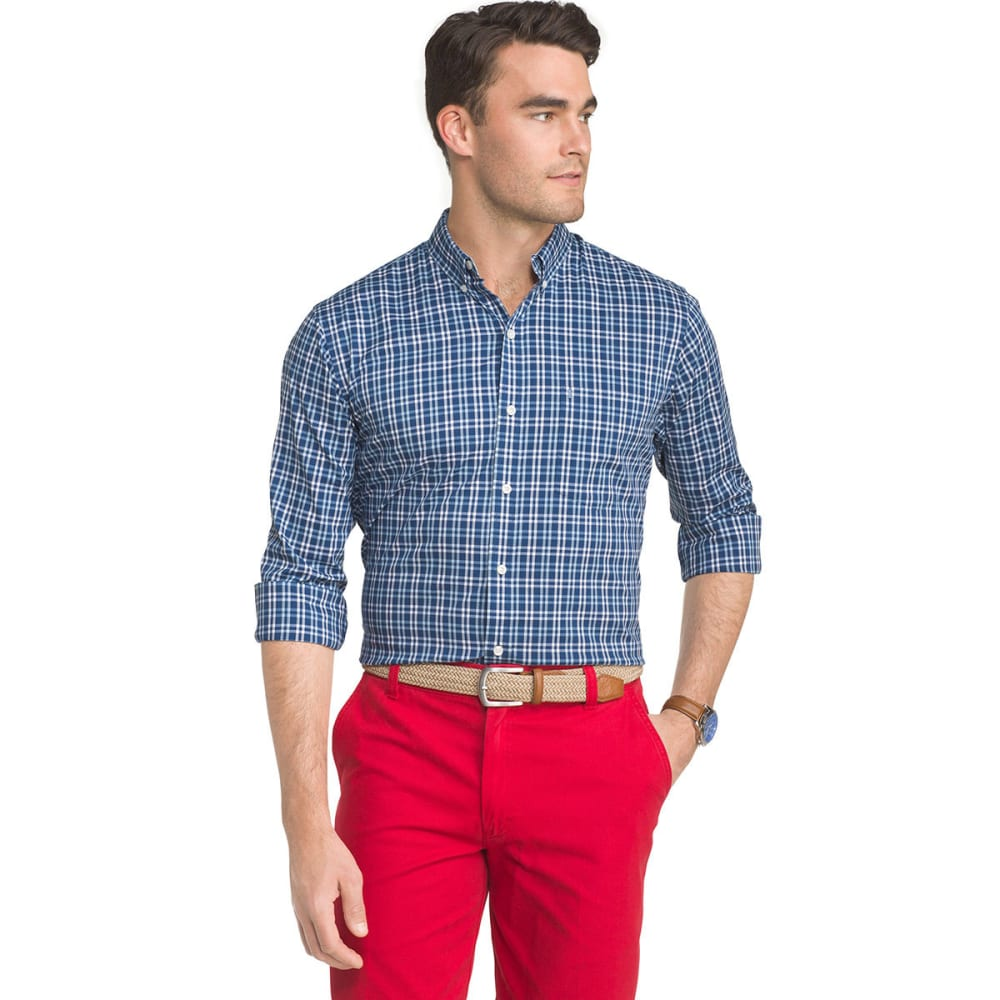 IZOD Men's Advantage Performance Poplin Plaid Stretch Woven Shirt - ESTATE BLUE-435