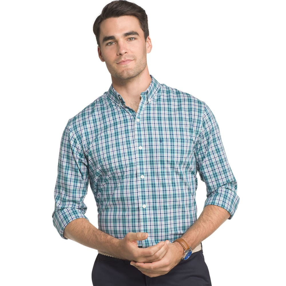 IZOD Men's Advantage Small Plaid Poplin Long-Sleeve Shirt - AGATE GRN-367