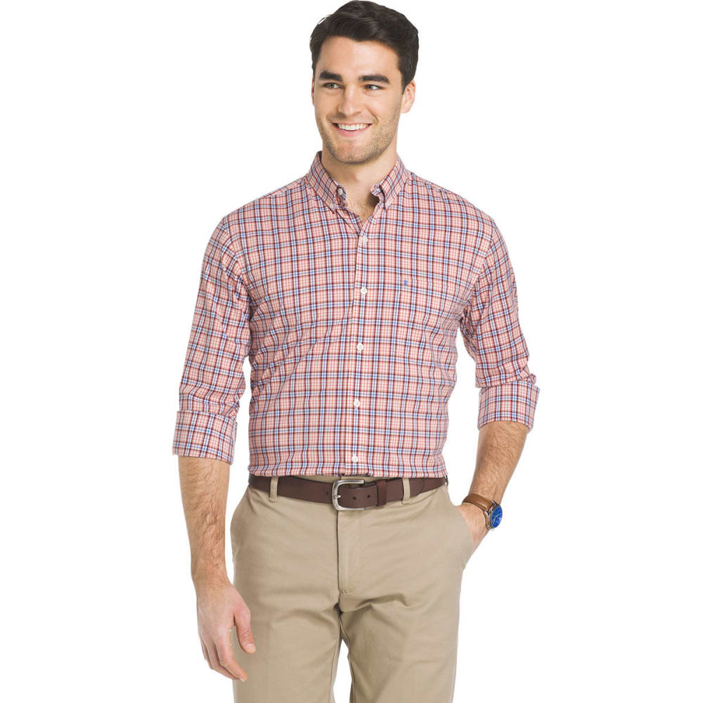 Izod Men's Essential Woven Long-Sleeve Shirt - Orange, M