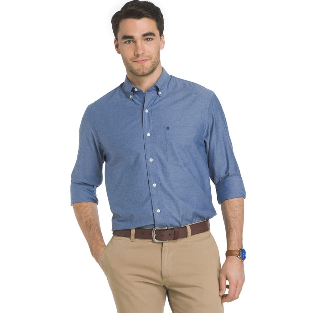 Izod Men's Oxford Solid Stretch Long-Sleeve Shirt - Blue, M