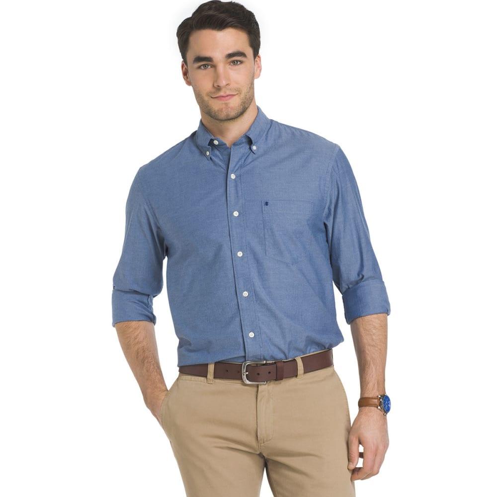 IZOD Men's Oxford Solid Stretch Long-Sleeve Shirt - ESTATE BLUE-466