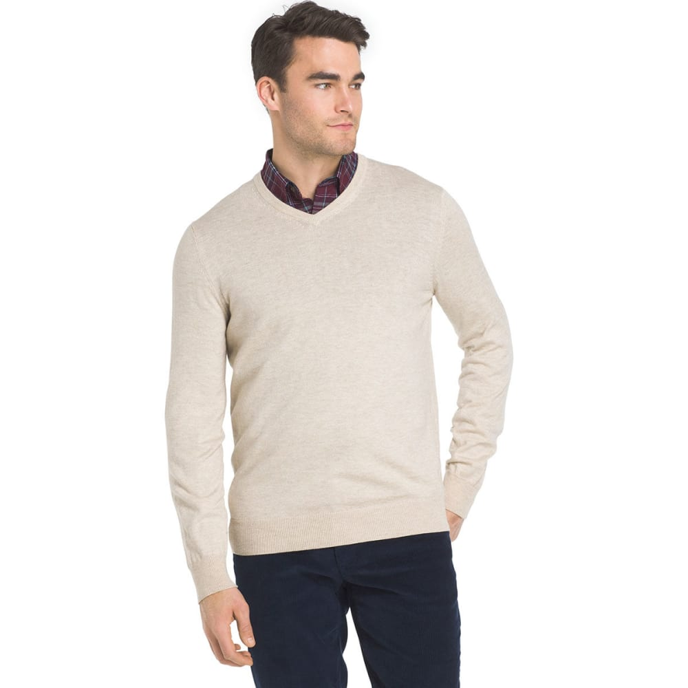 IZOD Men's Fine-Gauge V-Neck Long-Sleeve Sweater - ROCK HTR-268