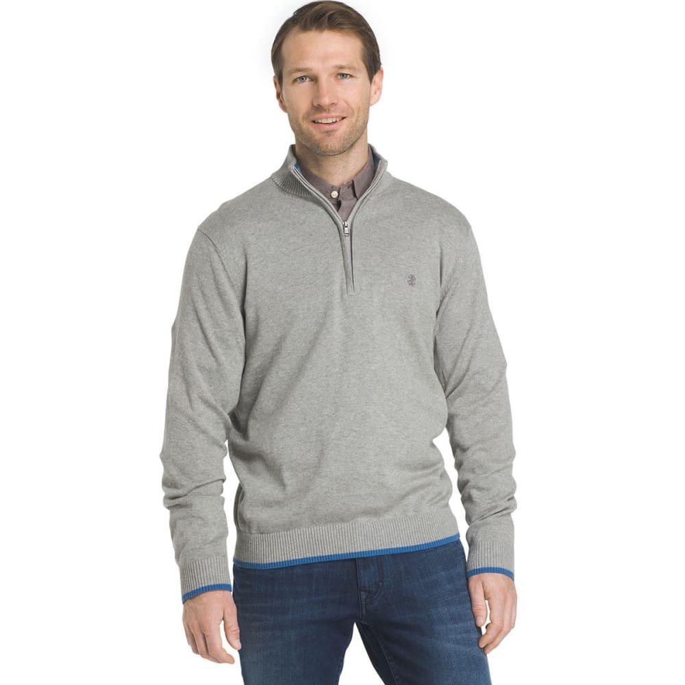 IZOD Men's Fine-Gauge 1/4 Zip Long-Sleeve Sweater - LT GRY HTR-052