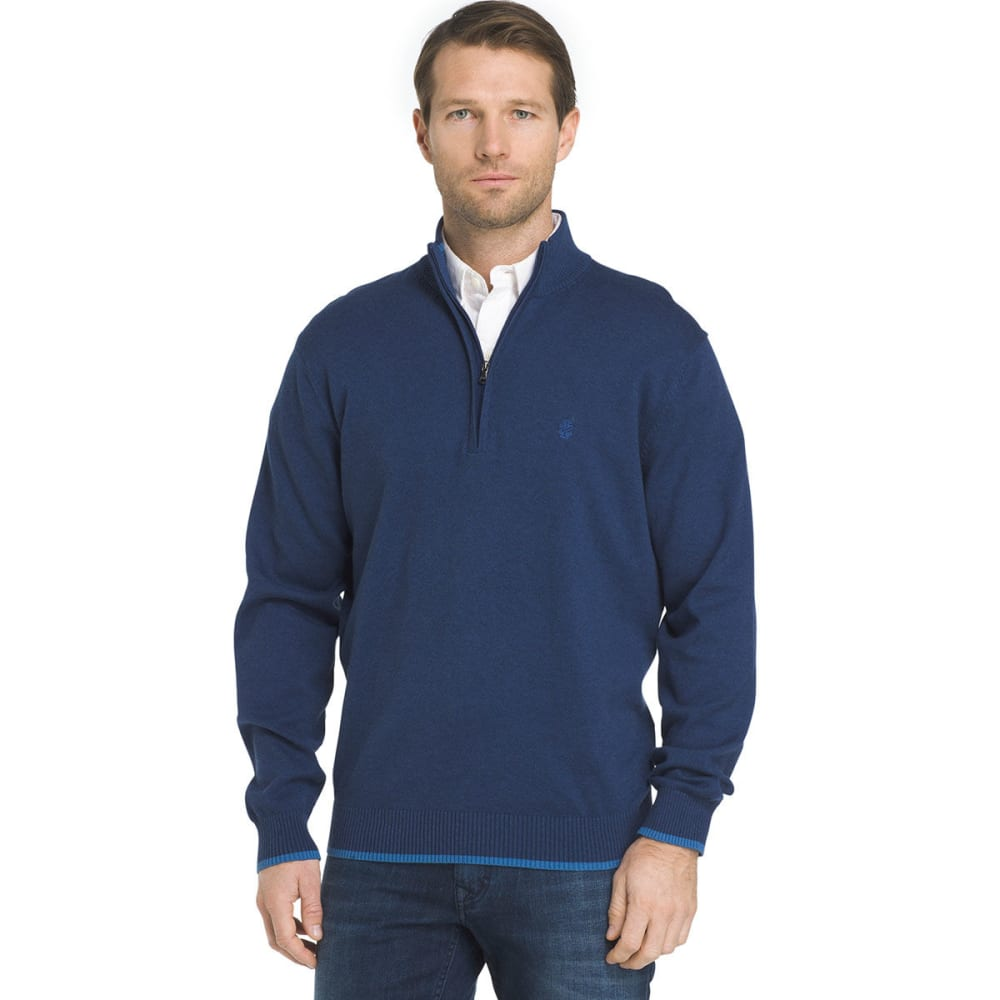 IZOD Men's Fine-Gauge 1/4 Zip Long-Sleeve Sweater - ESTATE HTR-449