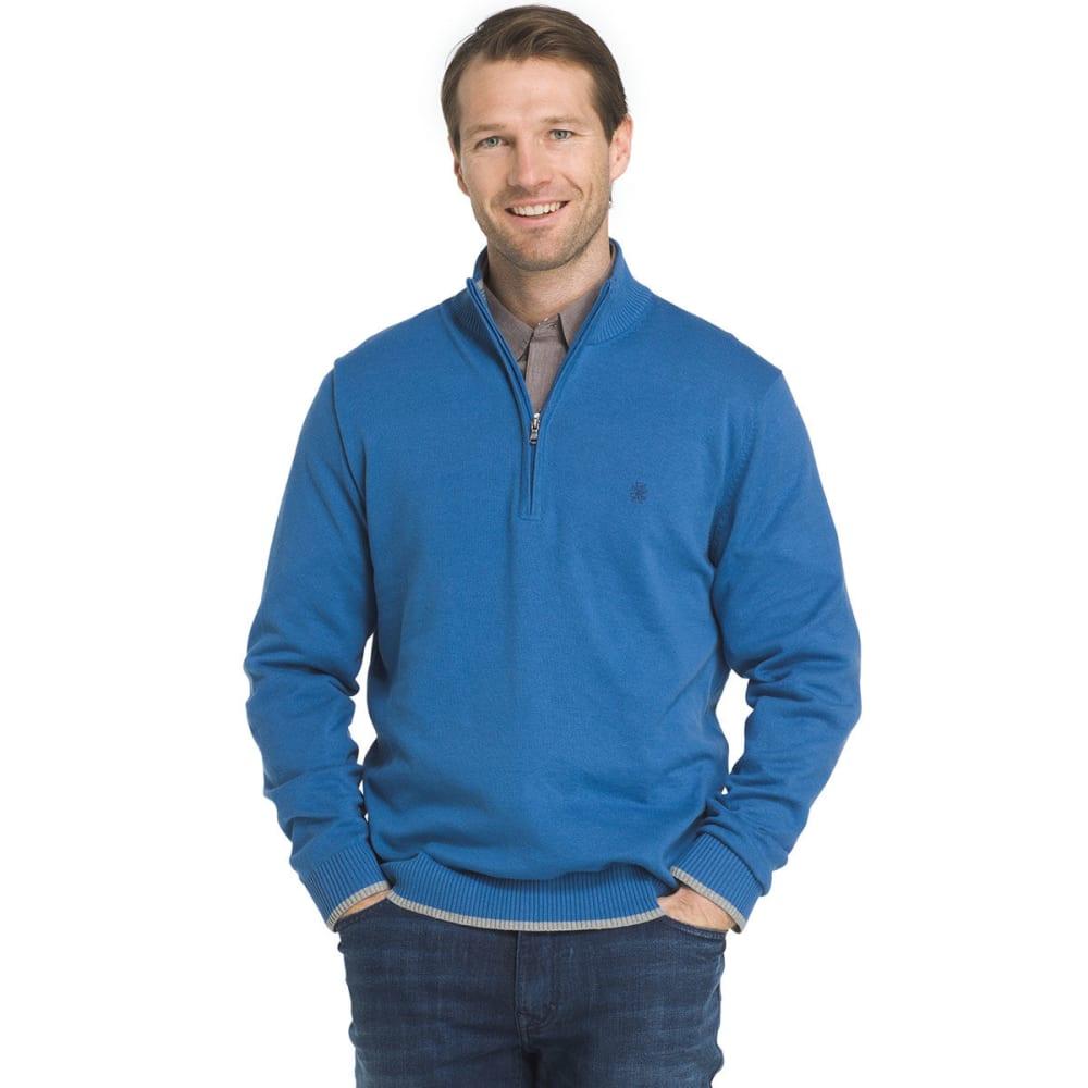 IZOD Men's Fine-Gauge 1/4 Zip Long-Sleeve Sweater - FEDERAL BL HTR-411