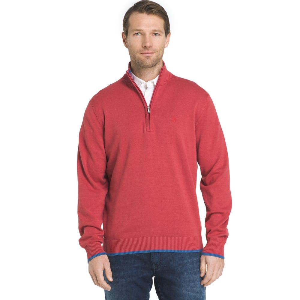 IZOD Men's Fine-Gauge 1/4 Zip Long-Sleeve Sweater - SALTWATER RED-648