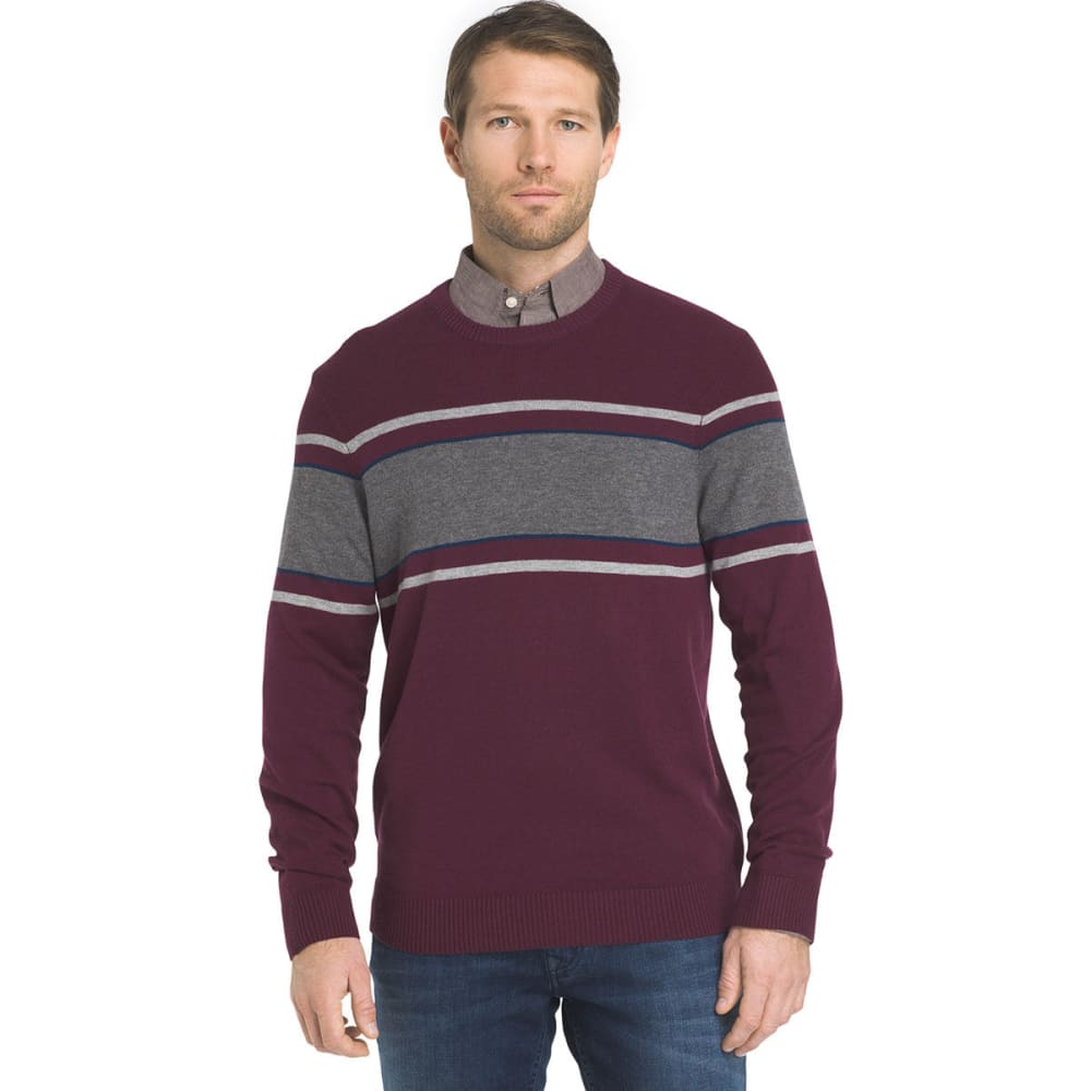 IZOD Men's Fine-Gauge Stripe Crew Long-Sleeve Sweater - FIG HTR-505