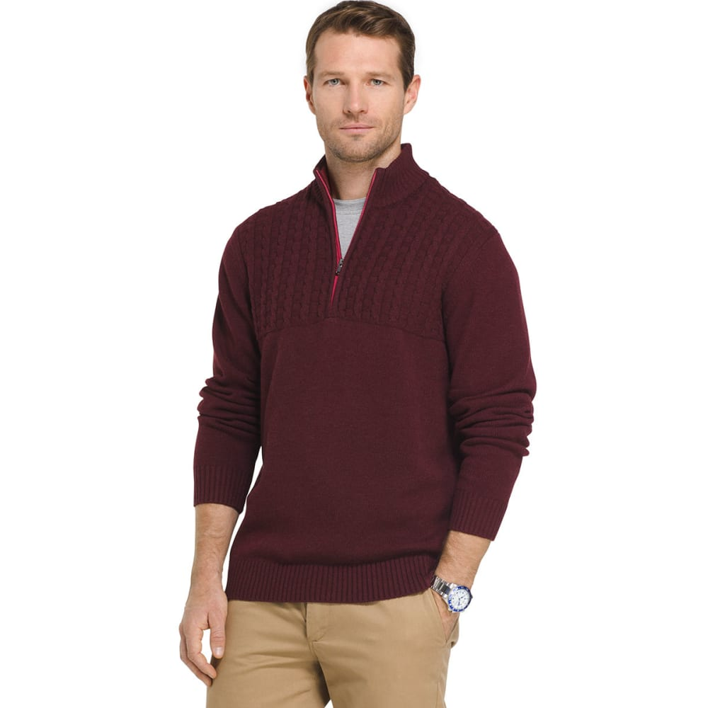 IZOD Men's Newport 1/4 Zip Long-Sleeve Sweater - FIG-505