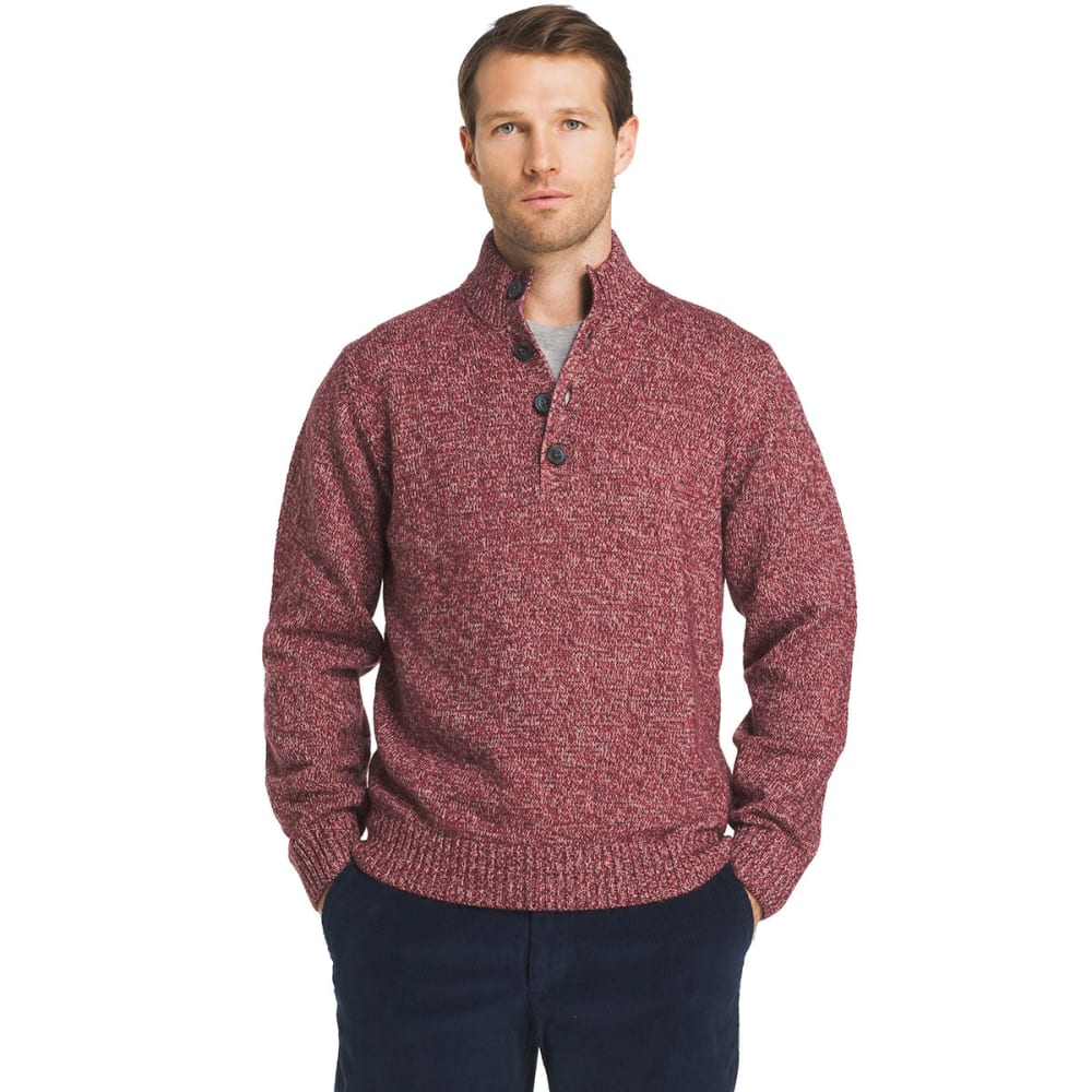 IZOD Men's Harbor River Mock Neck Button-Up Long-Sleeve Sweater - FIG-505