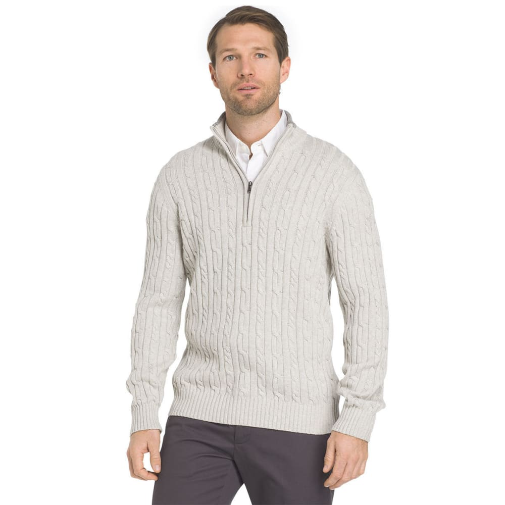 IZOD Men's Fieldhouse Cable 1/4 Zip Long-Sleeve Sweater - EDIFICE HTR-055