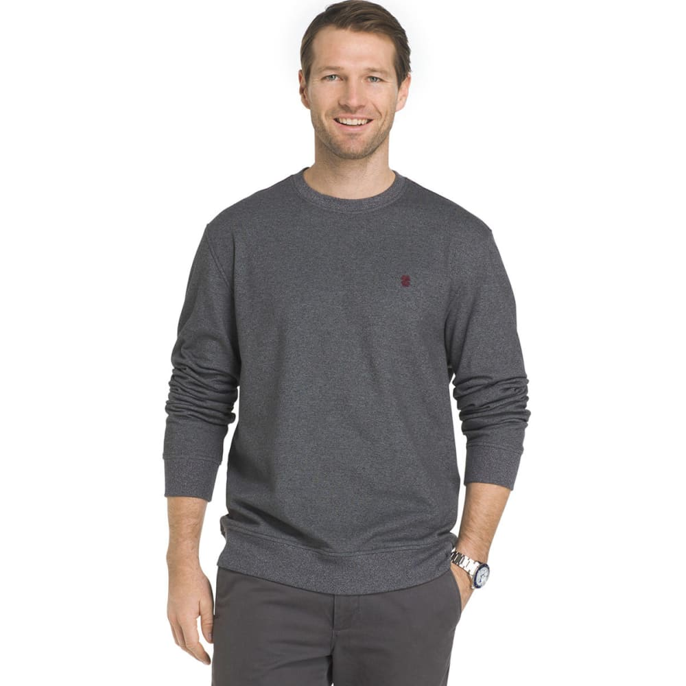 IZOD Men's Advantage Solid Sueded Crew Fleece Pullover - CINDERBLOCK-031