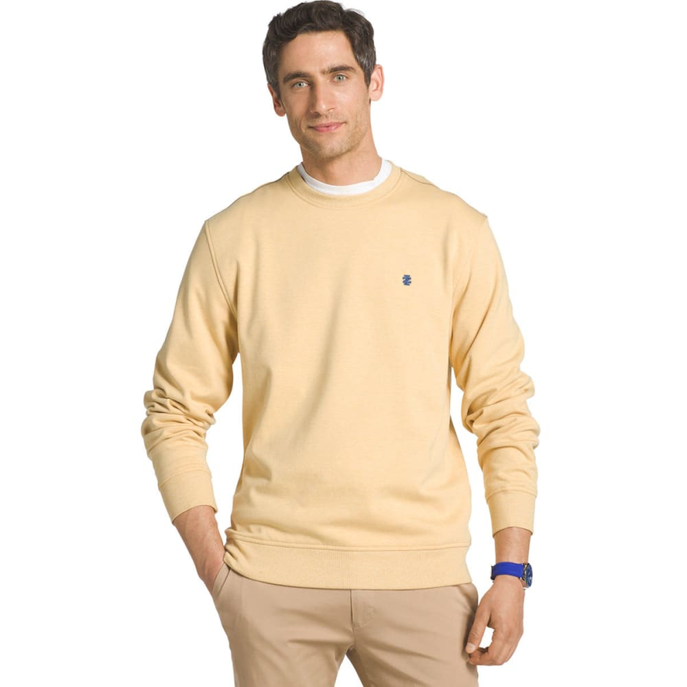 IZOD Men's Advantage Solid Sueded Crew Fleece Pullover - AMBER GOLD-714