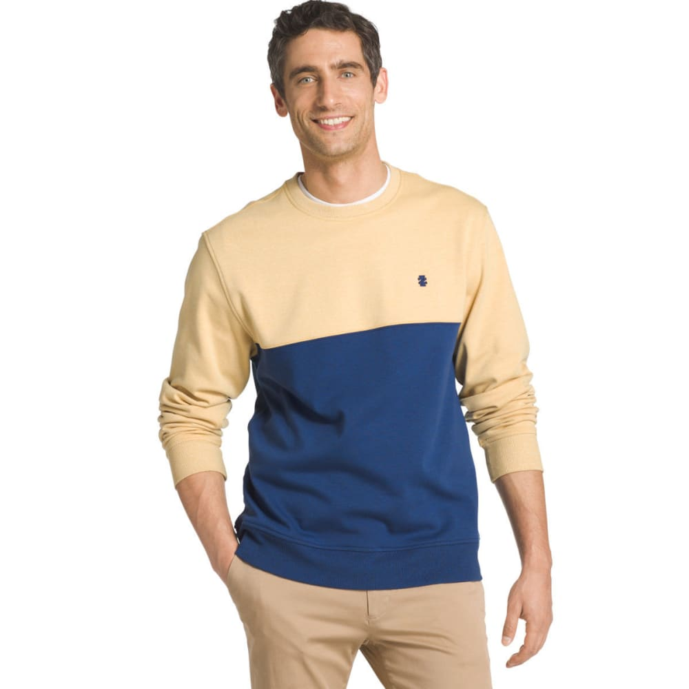 IZOD Men's Advantage Colorblock Sueded Crew Fleece Pullover - AMBER GOLD-714