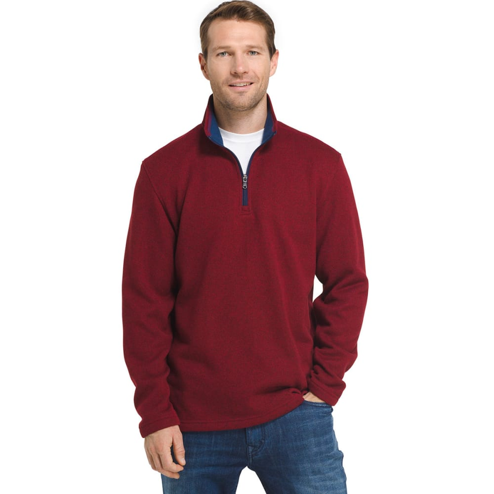 IZOD Men's Spectator ¼-Zip Sweater Fleece Pullover - RED DAHLIA HTR-630